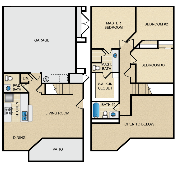Large 3 Bedroom. Floor Plans  Hidden Canyon Village Apartments  Apartment Homes in