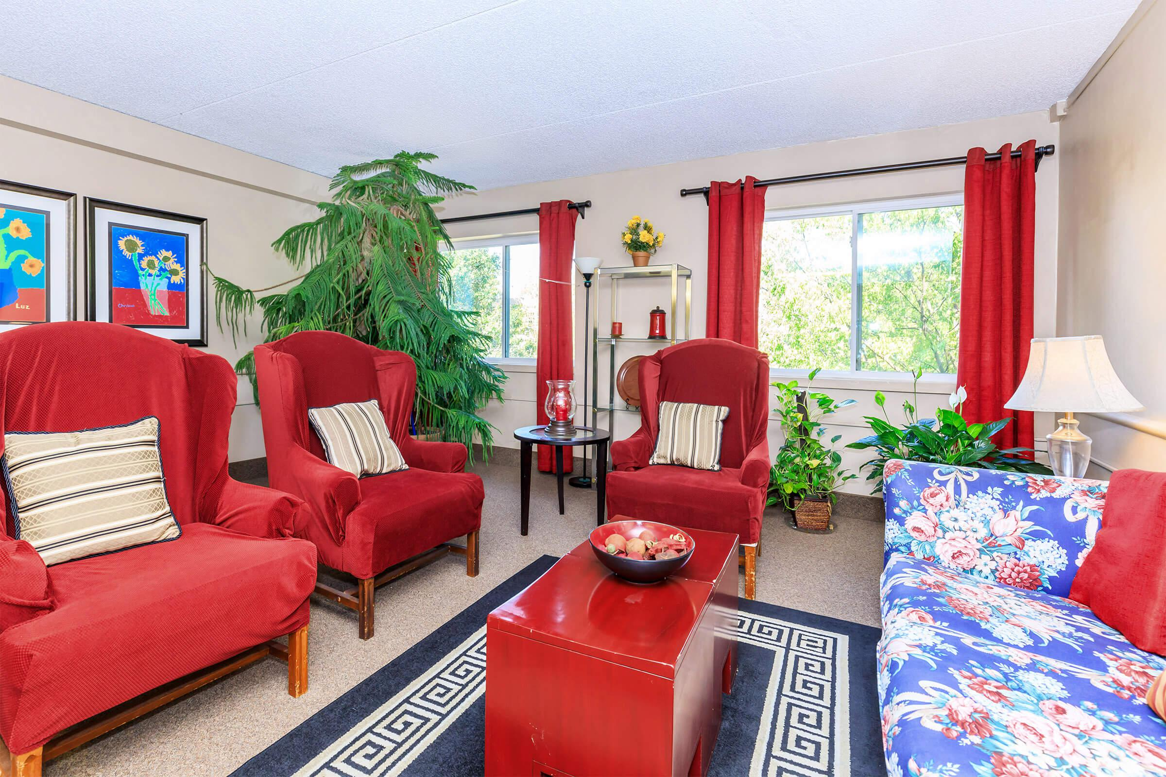 a living room filled with furniture and a red rug