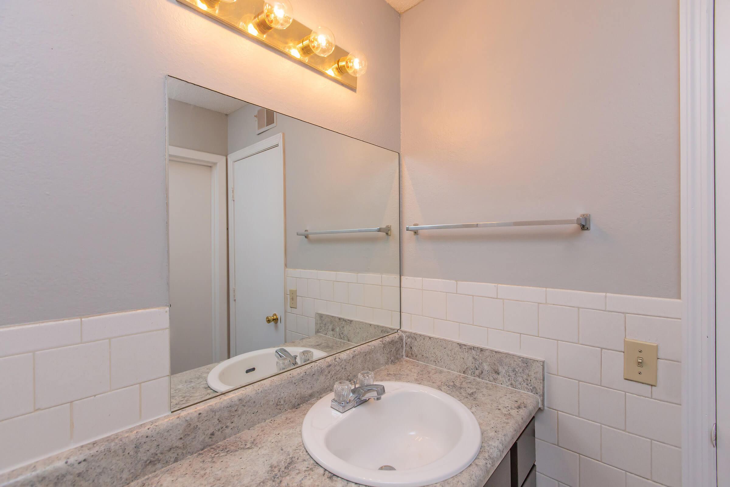 Warm tiled bathroom