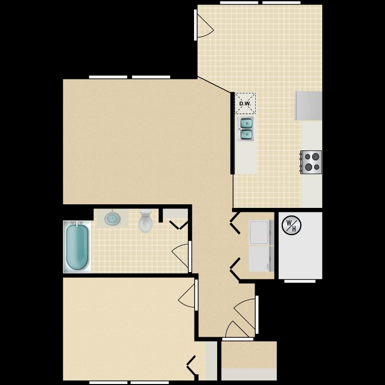 Floor plan image of 1 Bed 1 Bath Standard