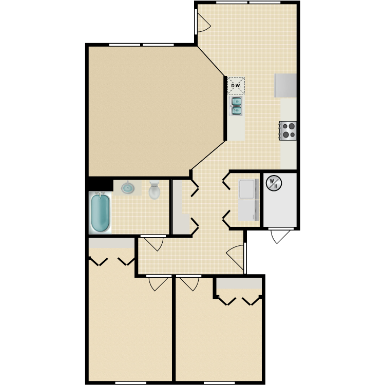 Floor plan image of 2 Bed 1 Bath Accessible