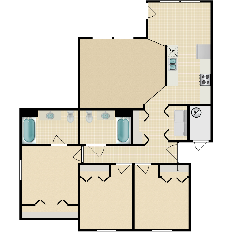 Floor plan image of 3 Bed 2 Bath Accessible