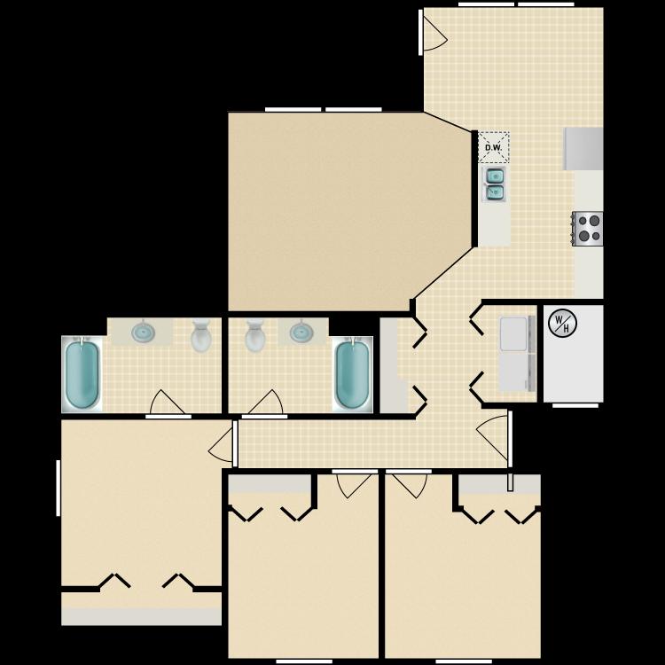 Floor plan image of 3 Bed 2 Bath Standard