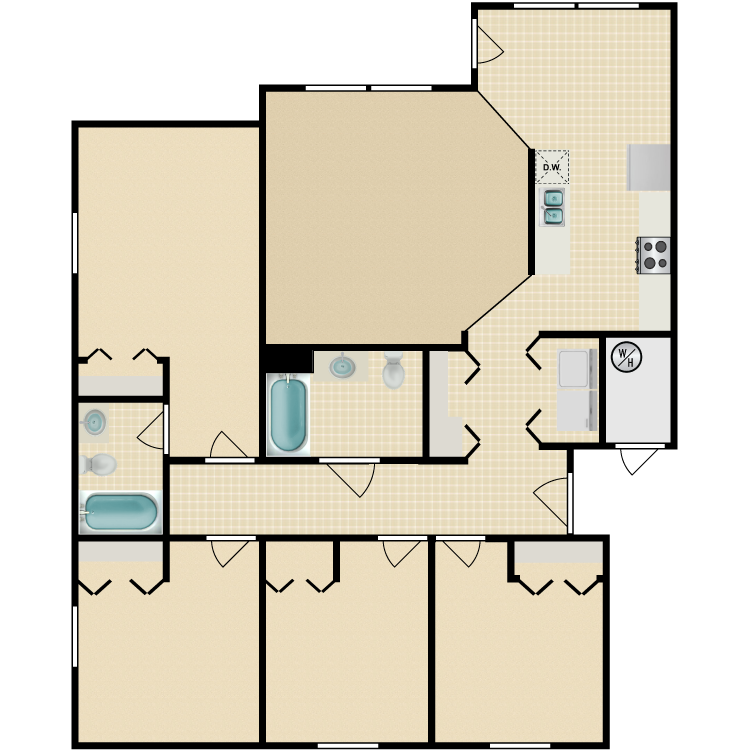 Floor plan image of 4 Bed 2 Bath Accessible