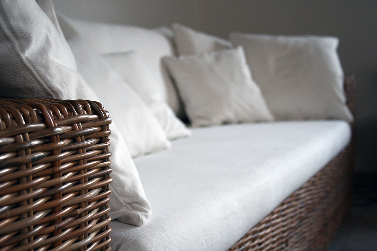 a large bed sitting in a basket
