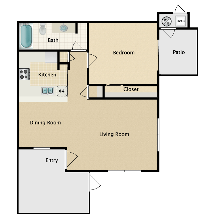 Floor plan image of 1x1