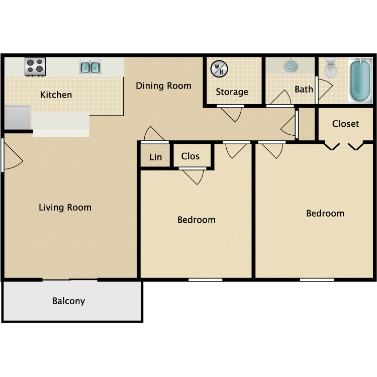 2 Bed 1 Bath. Hunter Chase   Availability  Floor Plans   Pricing