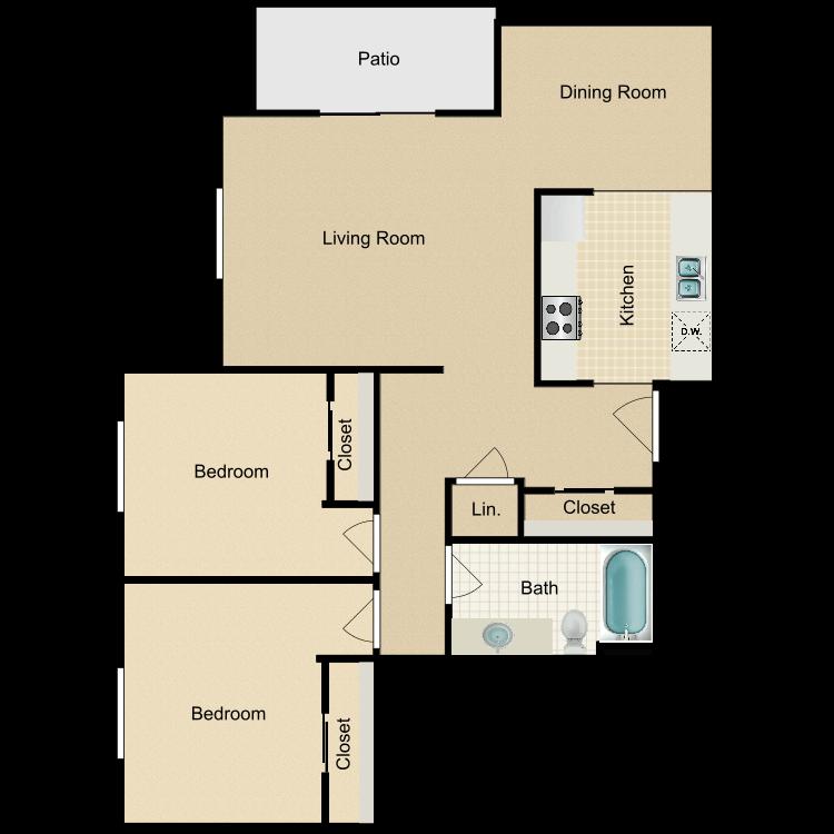 Floor plan image of 2 Bed 1 Bath A