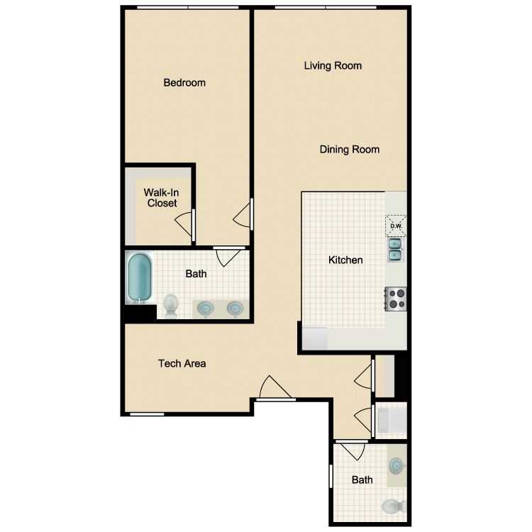 Floor plan image of 1 Bed 1.5 Bath B