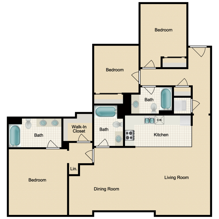 Floor plan image of 3 Bed 3 Bath A