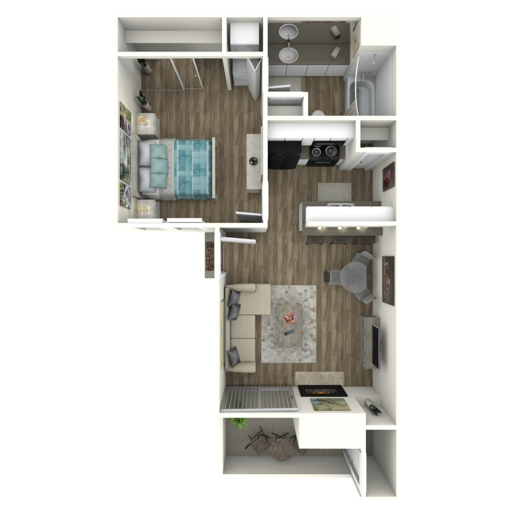 Floor plan image of A2 1 Bed 1 Bath