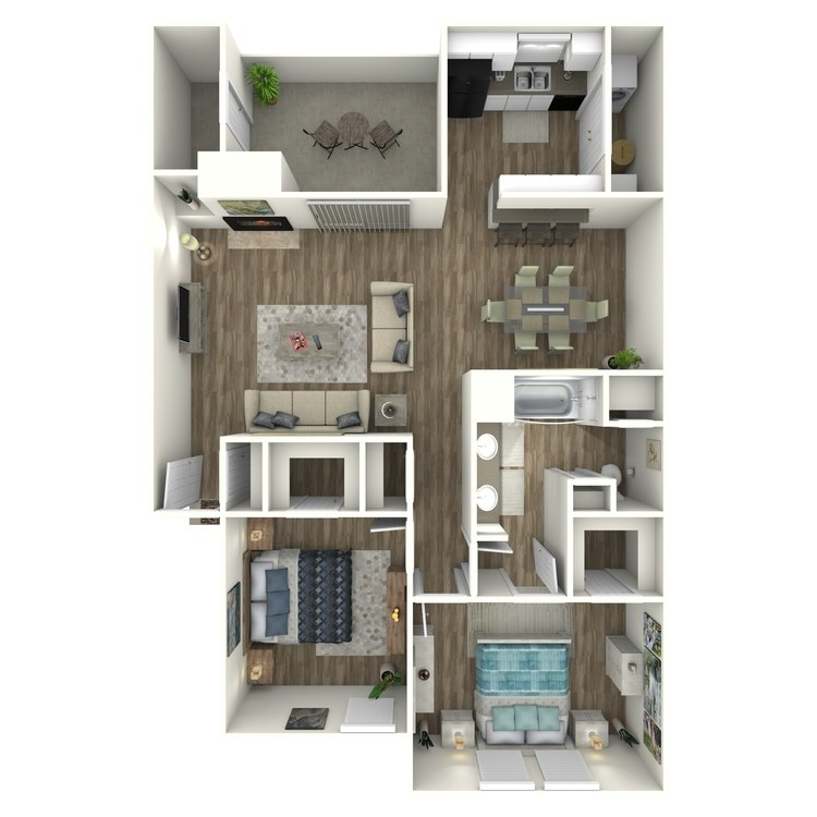 Floor plan image of B1 2 Bed 1 Bath