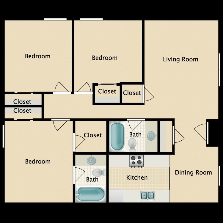 Floor plan image of Three Bedroom Fireplace