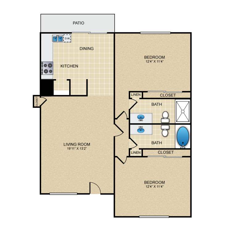 Floor plan image of 2 Bed 2 Bath Down