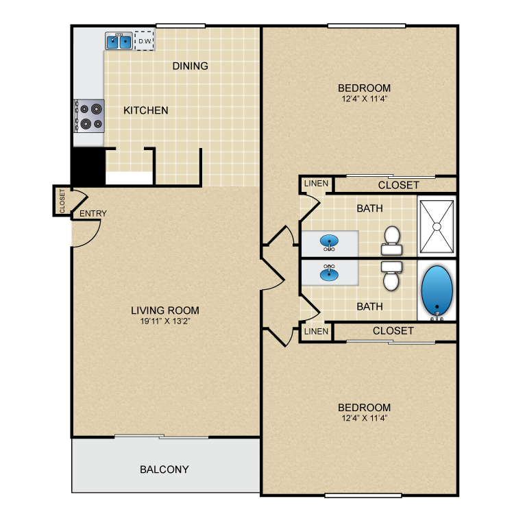 Floor plan image of 2 Bed 2 Bath Up
