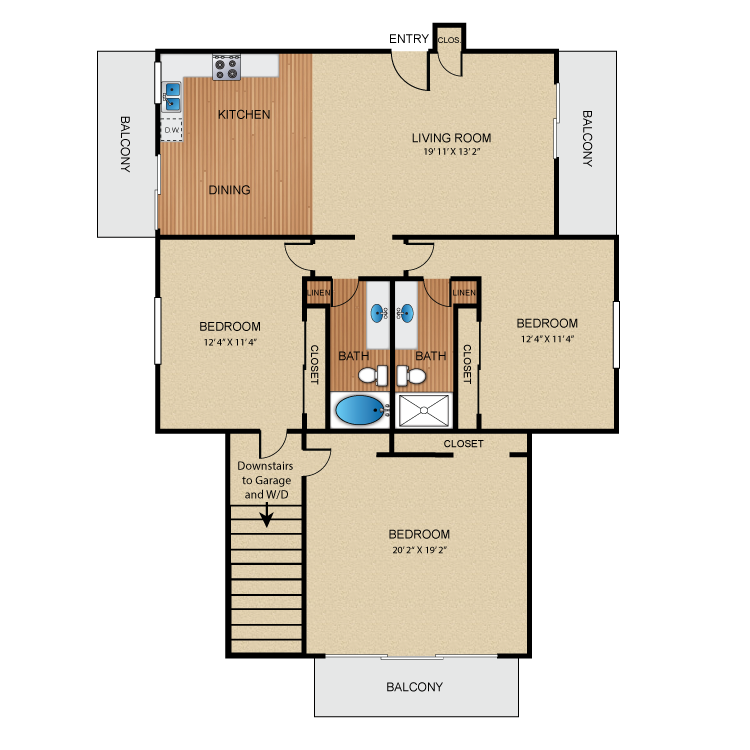 Floor plan image of 3 Bed 2 Bath Up