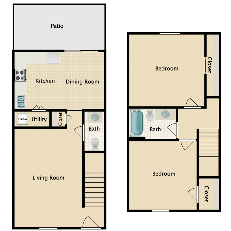 Floor plan image of Two Bedroom Townhouse