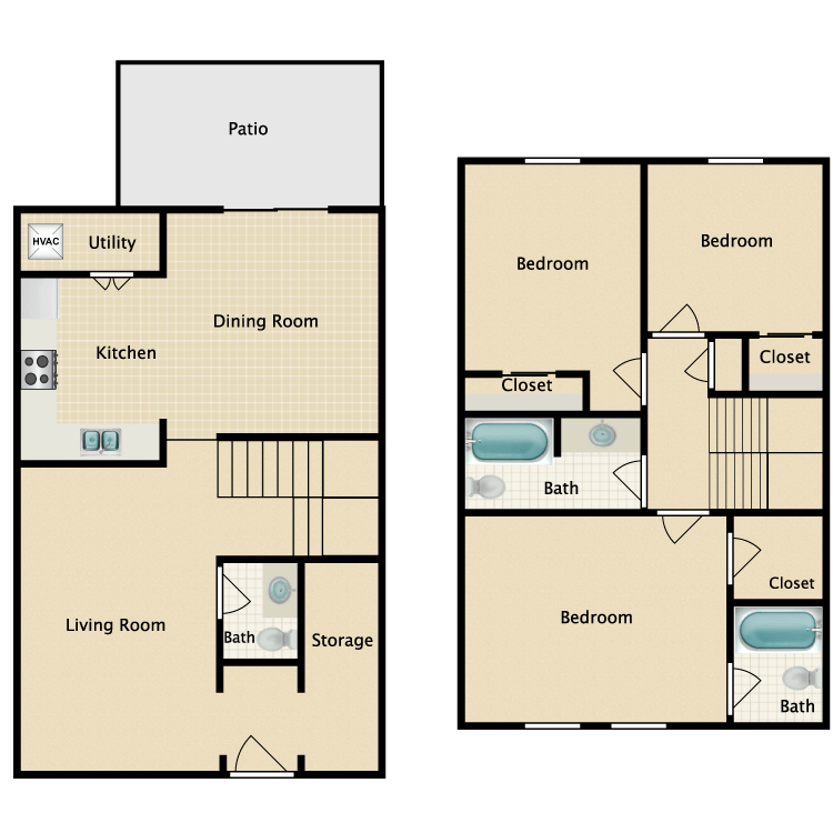 Floor plan image of Three Bedroom Townhouse