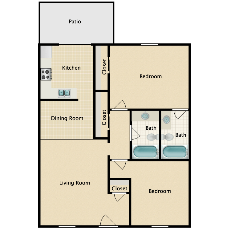 Floor plan image of Two Bedroom Cottage