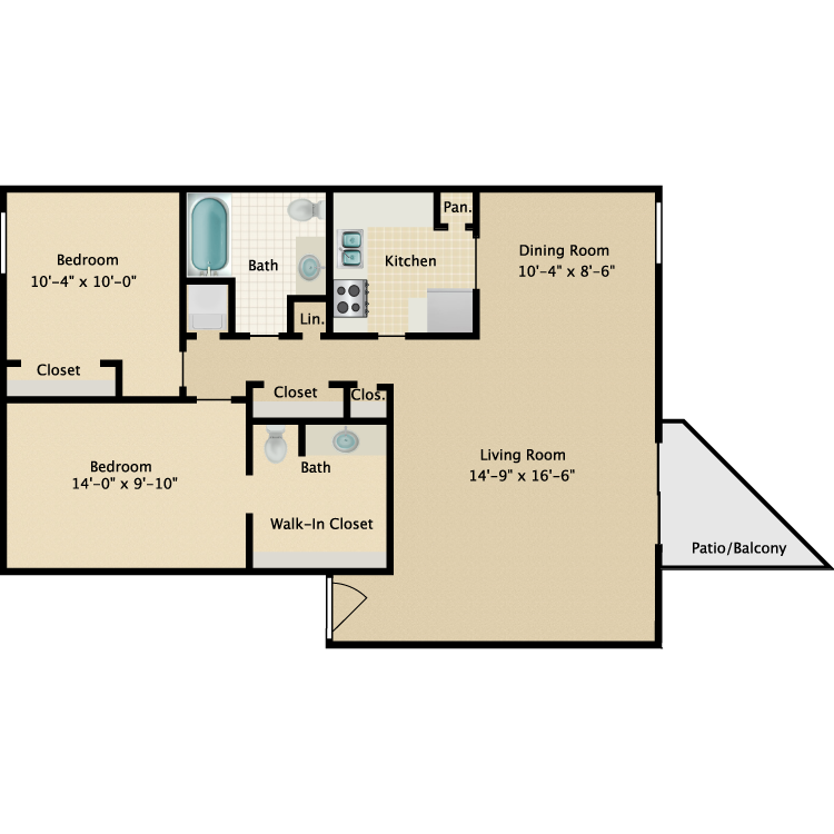 Floor plan image of Two Bedroom One and a Half Bath