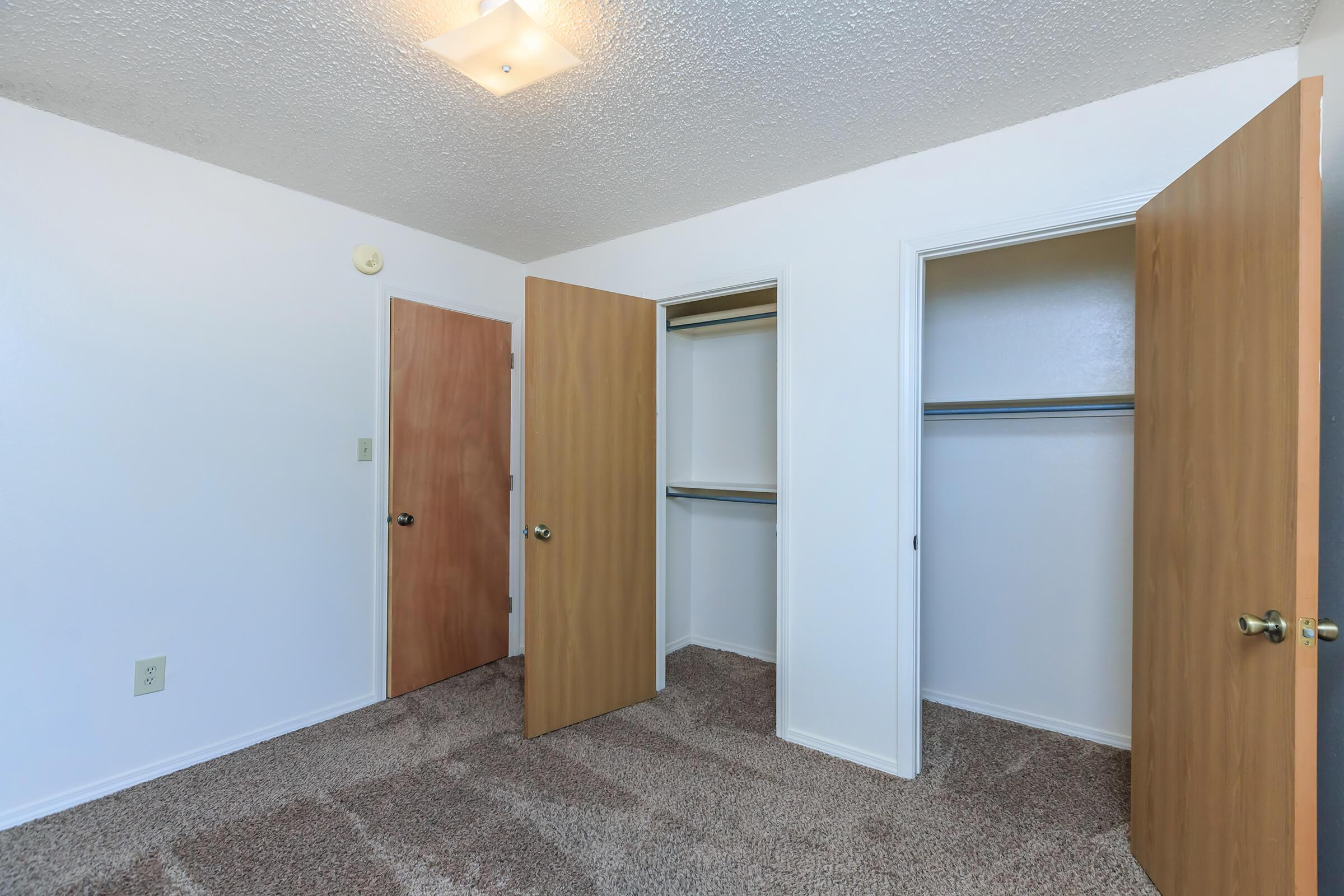a room with a wooden door