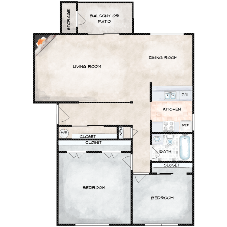 Floor plan image of Magnolia with No W/D