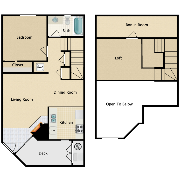 Floor plan image of Plan A 1 Bed 1 Bath with Loft
