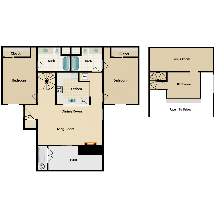 Floor plan image of Plan C 3 Bed 2 Bath with Loft