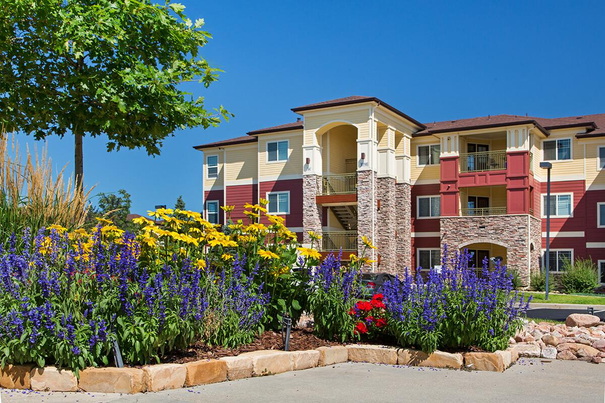 a close up of a flower garden in front of a building