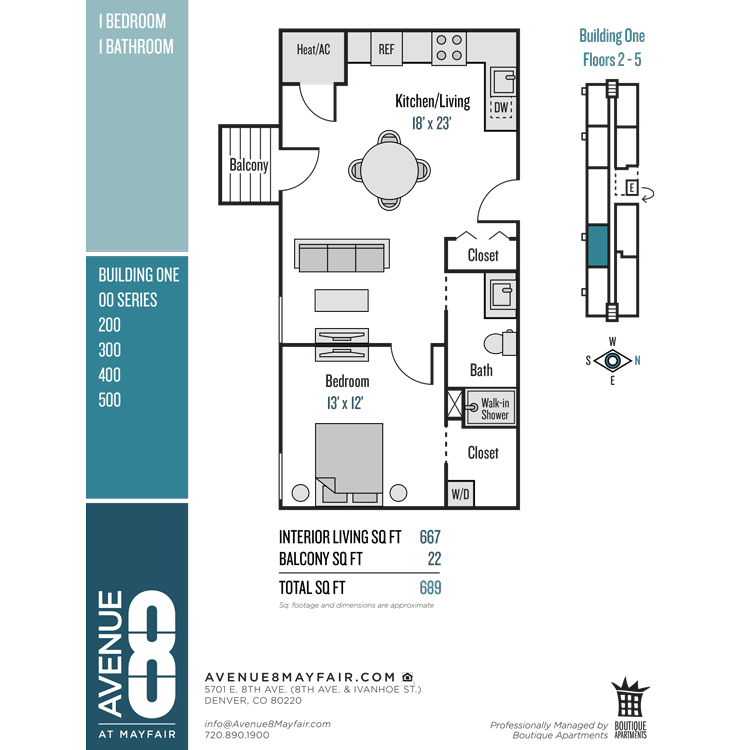Floor plan image of 1 Bed 1 Bath 00 Series