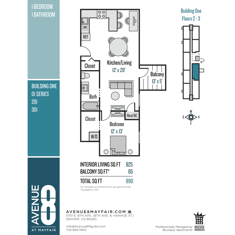 Floor plan image of 1 Bed 1 Bath 01 Series