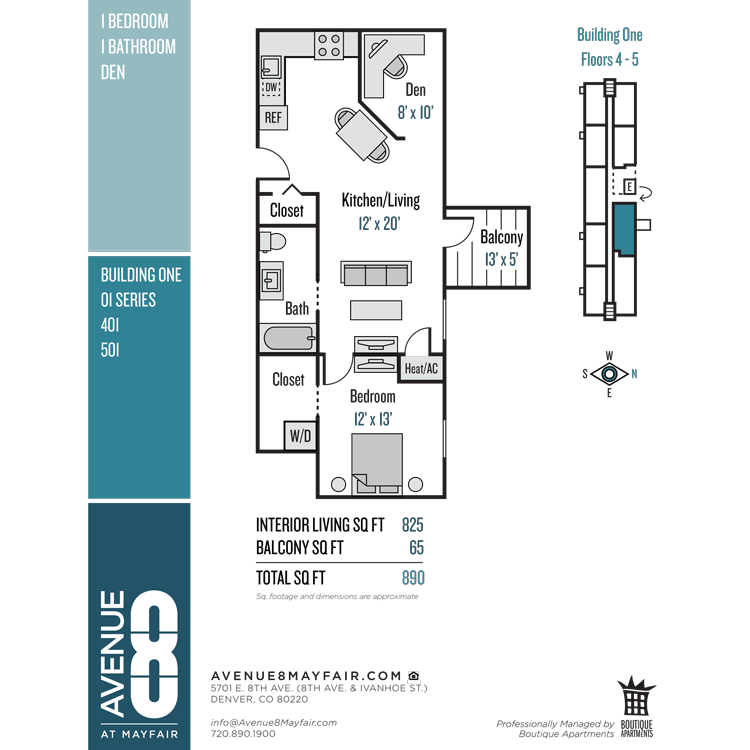 Floor plan image of 1 Bed 1 Bath with Den 01 Series