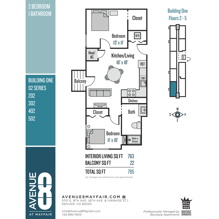 Floor plan image of 2 Bed 1 Bath 02 Series