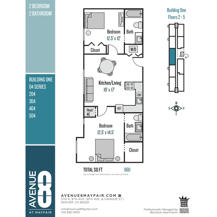 Floor plan image of 2 Bed 2 Bath 04 Series