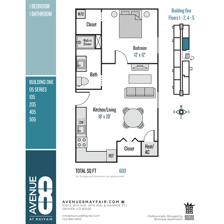 Floor plan image of 1 Bed 1 Bath 05 Series