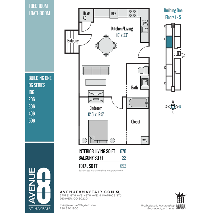 Floor plan image of 1 Bed 1 Bath 06 Series