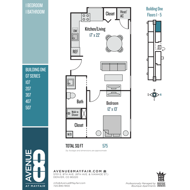 Floor plan image of 1 Bed 1 Bath 07 Series