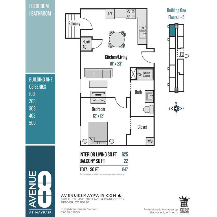 Floor plan image of 1 Bed 1 Bath 08 Series
