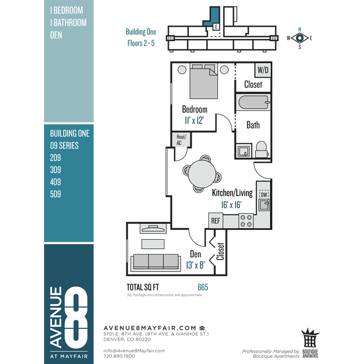 Floor plan image of 1 Bed 1 Bath with Den 09 Series