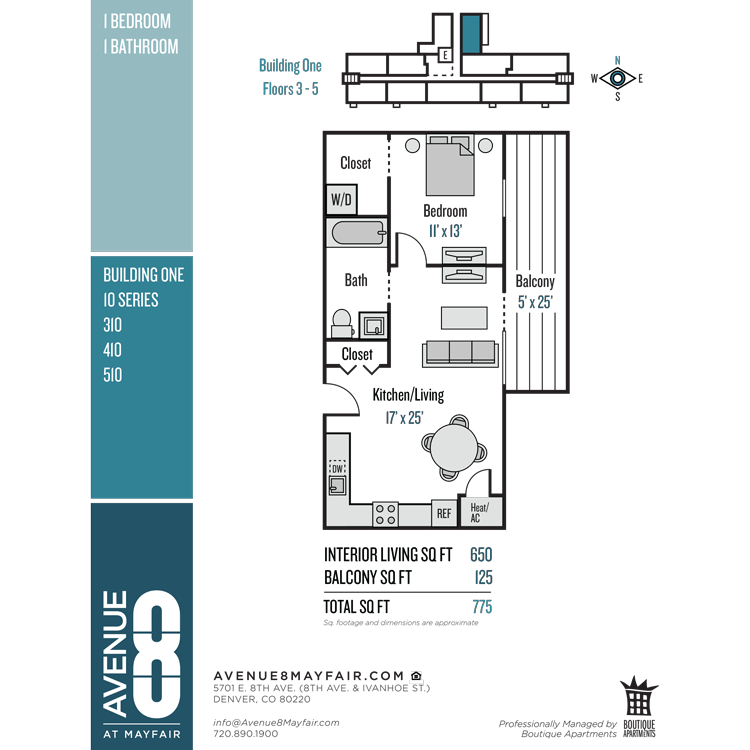 Floor plan image of 1 Bed 1 Bath 10 Series
