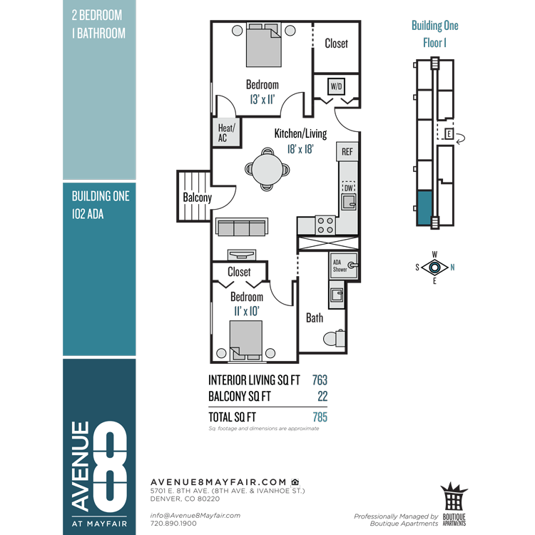 Floor plan image of 2 Bed 1 Bath 102 ADA