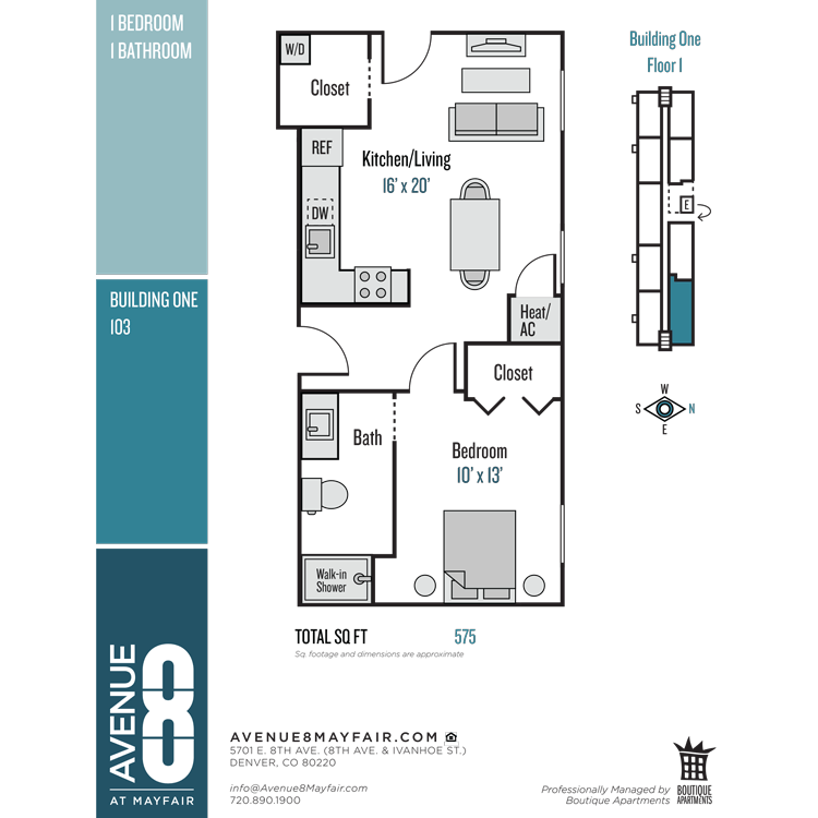 Floor plan image of 1 Bed 1 Bath 103