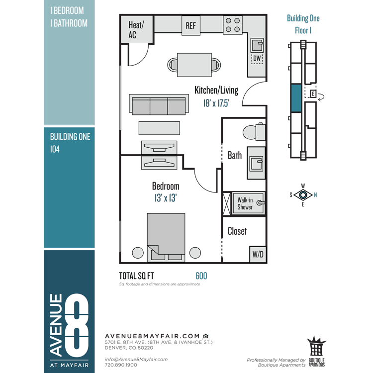 Floor plan image of 1 Bed 1 Bath 104