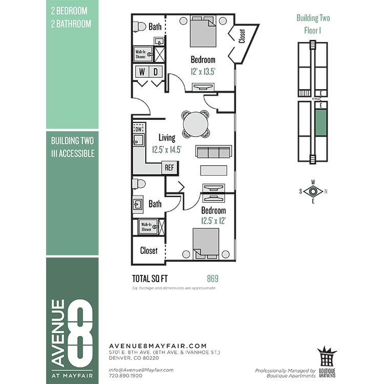 Floor plan image of 2 Bed 2 Bath 11 Series