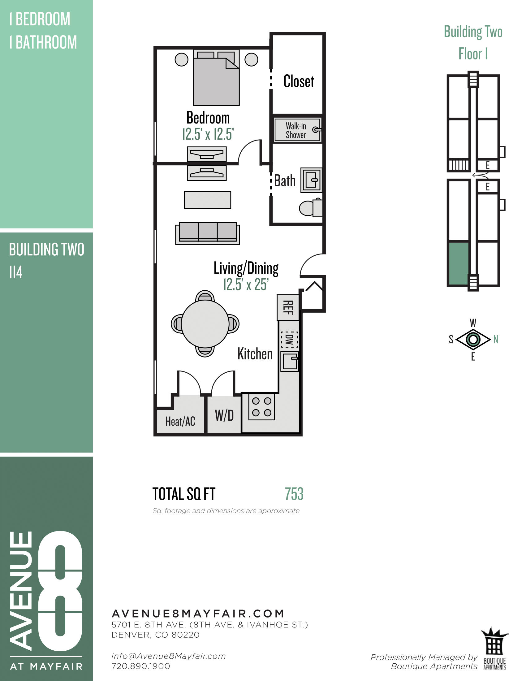Floor plan image of 1 Bed 1 Bath 114
