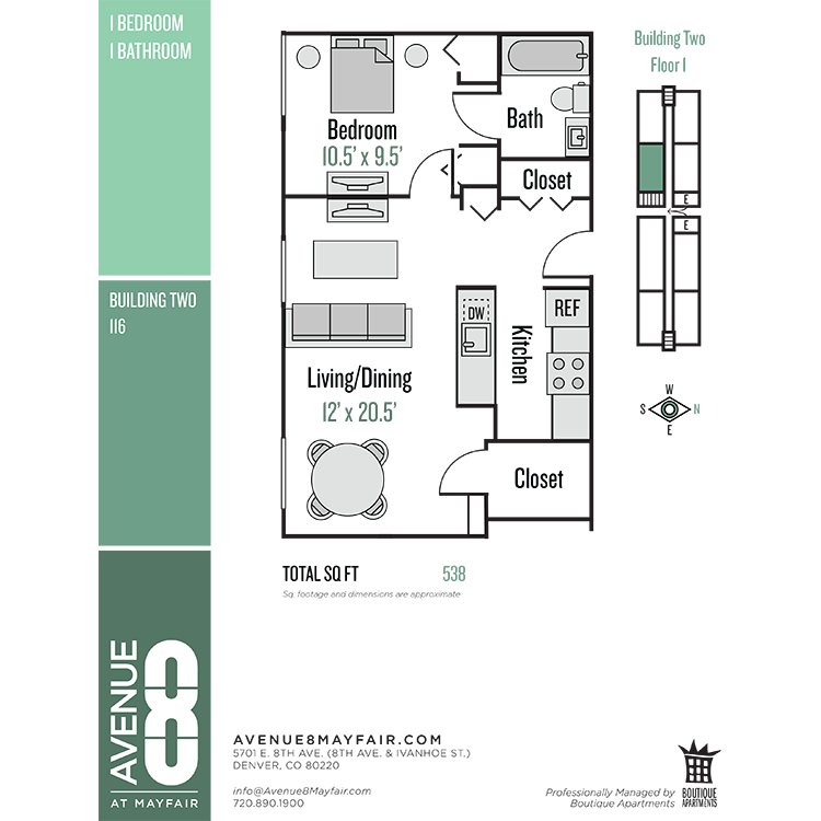 Floor plan image of 1 Bed 1 Bath 116