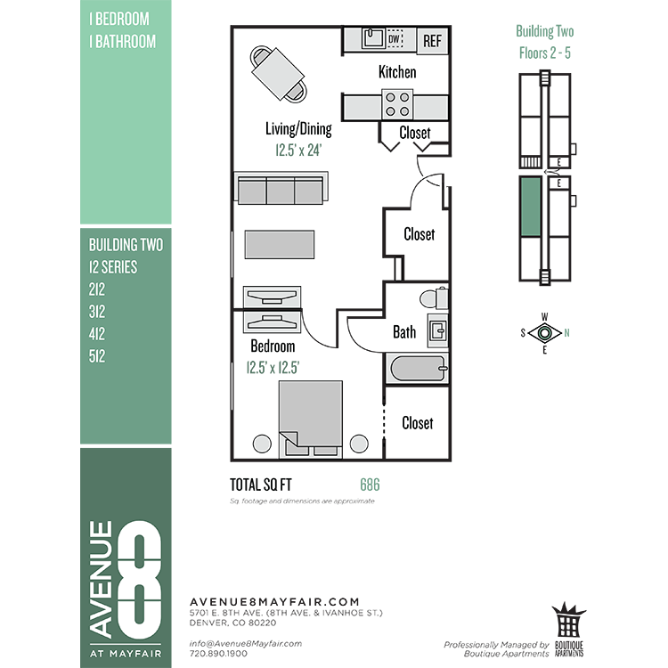 Floor plan image of 1 Bed 1 Bath 12 Series