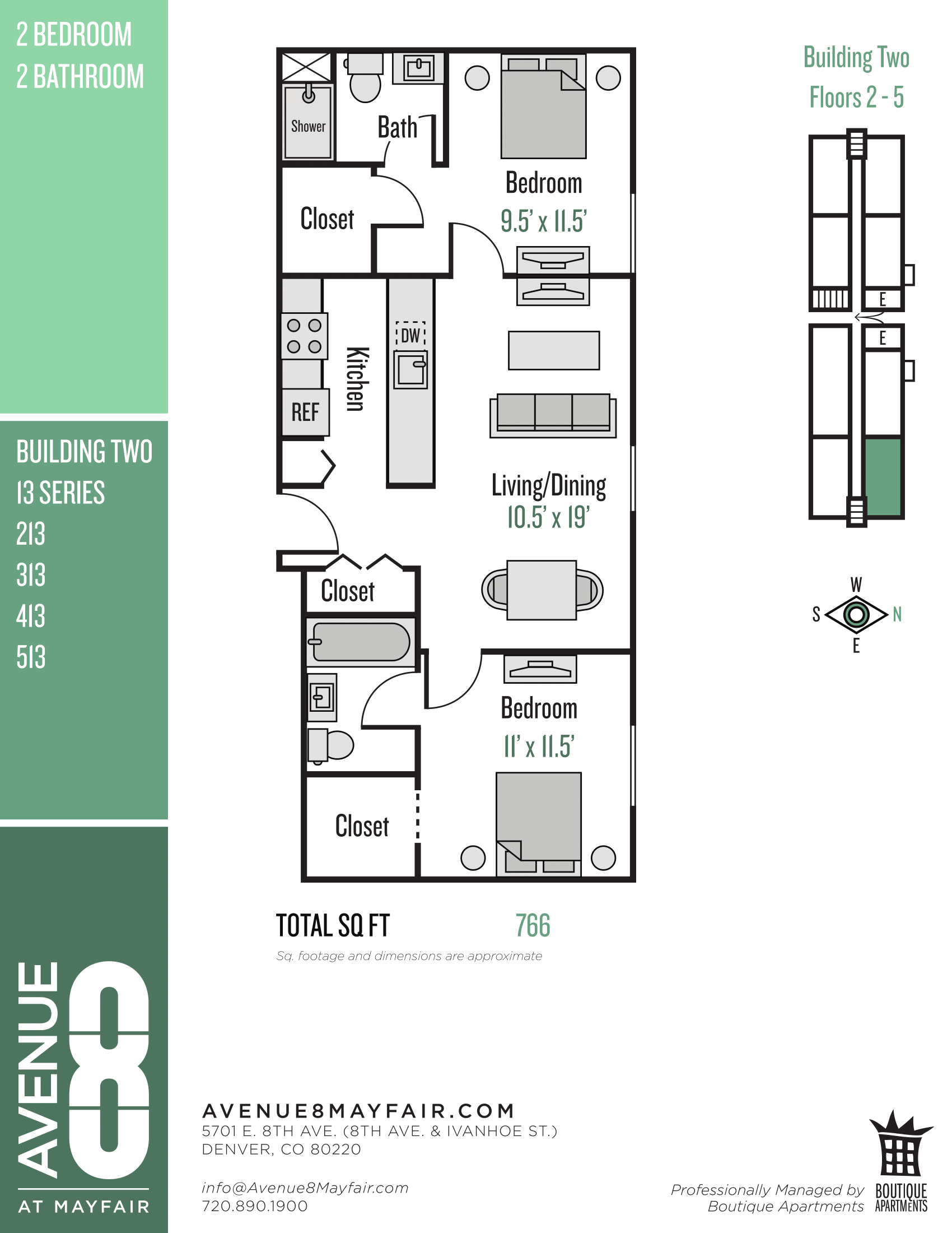Floor Plans Avenue 8 at Mayfair Apartments in Denver CO
