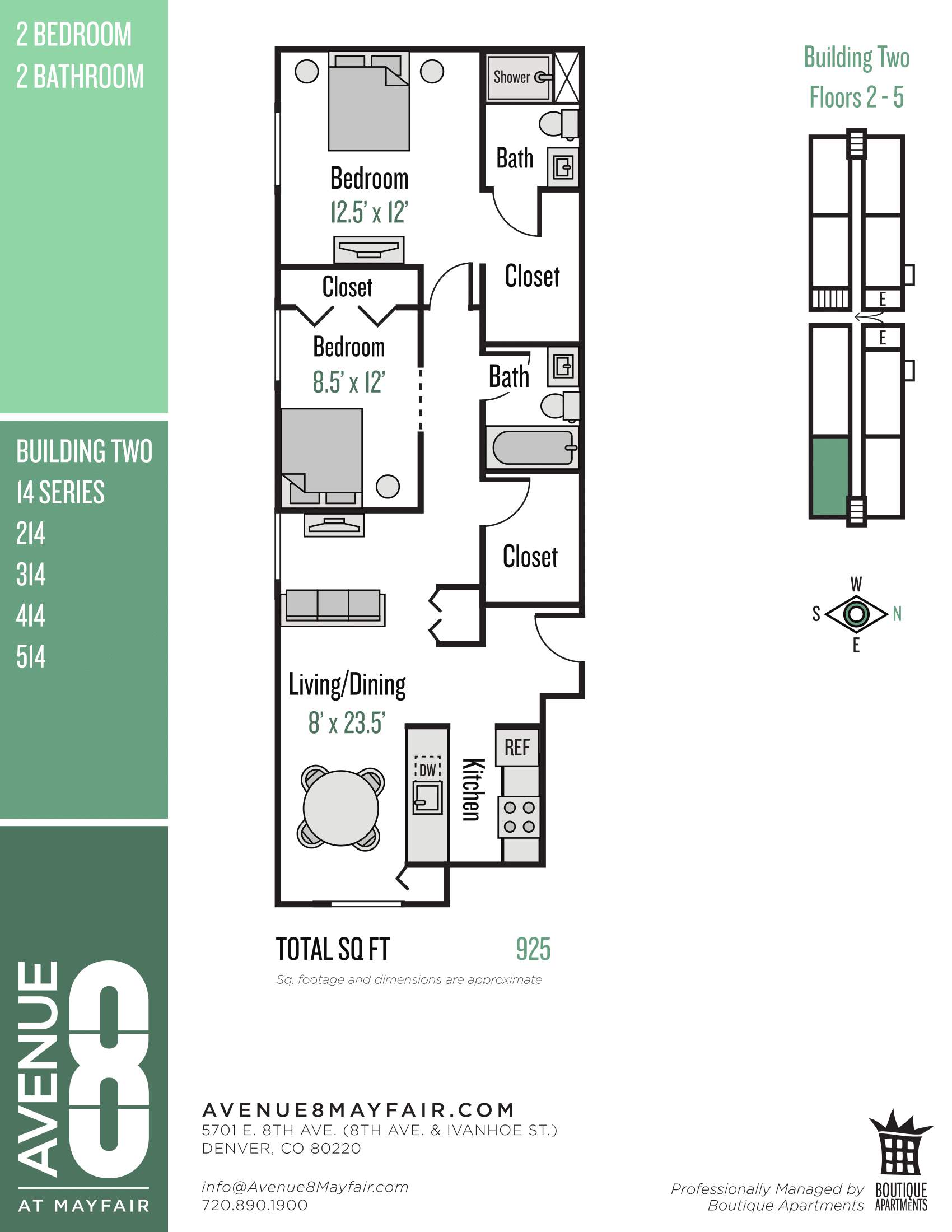 Floor plan image of 2 Bed 2 Bath 14 Series