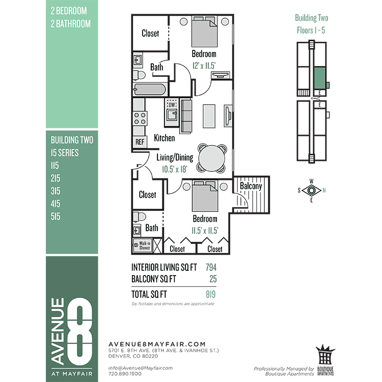 Floor plan image of 2 Bed 2 Bath 15 Series